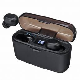 TWS Mini bluetooth LED Digital Pantalla Auricular Impermeable Par automático de auriculares con 2000mAh Power Bank