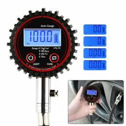 BIKIGHT Digital LCD Probador de manómetro de presión de neumáticos 200PSI Probador de compresión para scooter de bicicle