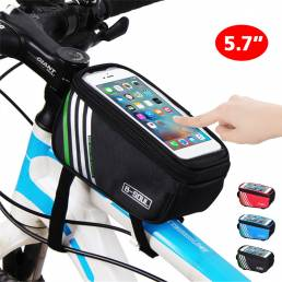 B-SOUL 5.7 Inch Tubo de teléfono de bicicleta con pantalla táctil Bolsa con agujeros Auricular Delantero de bicicleta a