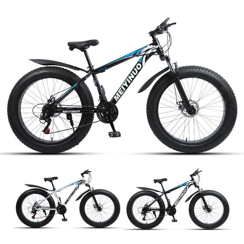 "BIKIGHT 26 ""Neumático grueso de 27 velocidades Bicicleta de montaña Freno de disco doble 4.0 Neumático de nieve Biciclet"