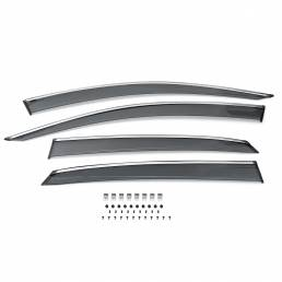 Real Clip-On Viseras de ventana de ventilación lateral estilo Mugen para Honda Civic 2016-Up Hatchback
