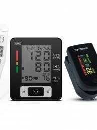 3 en 1 bluetooth Oxímetro de pulso de dedo Presión arterial de muñeca Monitor Esfigmomanómetro Boby Termómetro Ancianos