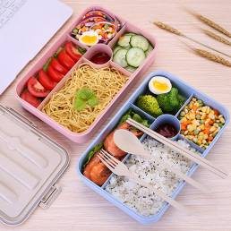 5 rejillas Microondas Calefacción Almuerzo Caja Bento Caja Comida Fruta Contenedor de almacenamiento Refrigerador Fresco