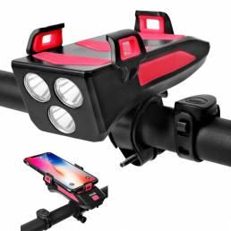 BIKIGHT Multifunción 4 en 1 Luz de bicicleta USB recargable LED Faro de bicicleta + Cuerno + Soporte para teléfono + Ban