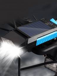 5 en 1 Solar Faro de bicicleta 400LM 4 modos Delantero de bicicleta Lámpara Cuerno de 130dB Banco de energía recargable