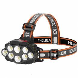 XANES® 4-Modos 8 * XPG LED Linterna frontal USB Recargable de disparo largo cámping Luz frontal 18650 pesca Linterna Imp