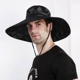Cubo para hombre Sombrero Gorra de malla transpirable para sombrilla pesca Sombrero Visera de gran tamaño con cuerda al