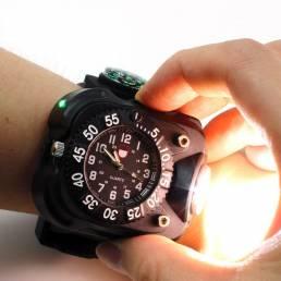 XPE Q5 LED IPX6 Impermeable multifunción reloj de pulsera linterna antorcha de bicicleta luz de carga USB