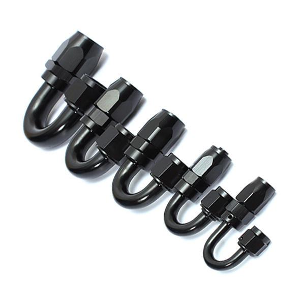 Un extremo giratorio de 180 grados Coche Manguera para aluminio negro trenzado Nylon