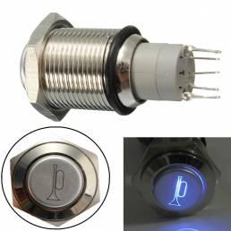 16mm 12v pulsador de metal cuerno momentánea impermeable cambiar azul LED iluminada