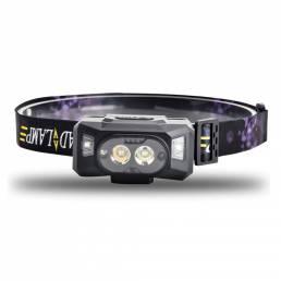 XANES® XPG + RGB Headlamp 6 Gear 70 ° Ajustable USB Recargable cámping Luz pesca Linterna de ciclismo