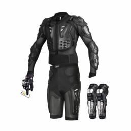 Wosawe traje de armadura corporal para motocicleta chaqueta de motocicletapantalones cortosguantesrodilleras ro