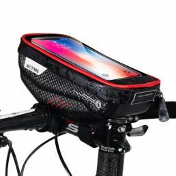 WILD MAN Bicicleta Manillar Bolsa Paquete de teléfono con pantalla táctil Tubo delantero a prueba de lluvia Bolsa MTB Ac