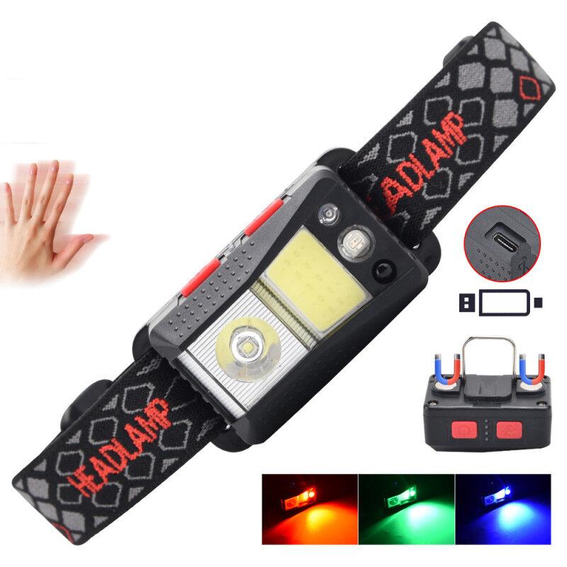 XANES® XPG + RGB + COB Linterna frontal de inducción ondulada 45 ° 6 engranajes USB ajustable cámping Luz de tienda pesc