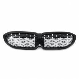 Rejilla de riñón cromada y negra brillante con diamante para BMW Serie 3 G20 2018-2020