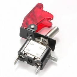Coche rojo cubierta LED spst toggle del eje de balancín interruptor de control de 12v 20a en off