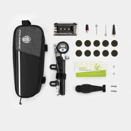 Reparación de bicicletas BIKIGHT herramientas Almacenamiento 8 en 1 Bolsa Bomba digital Boquilla de aire Palanca de neum