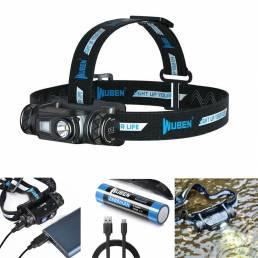 WUBEN H1 P9 1200LM USB recargable LED Faro de bicicleta de ciclismo pesca Luz de cabeza de búsqueda Linterna EDC