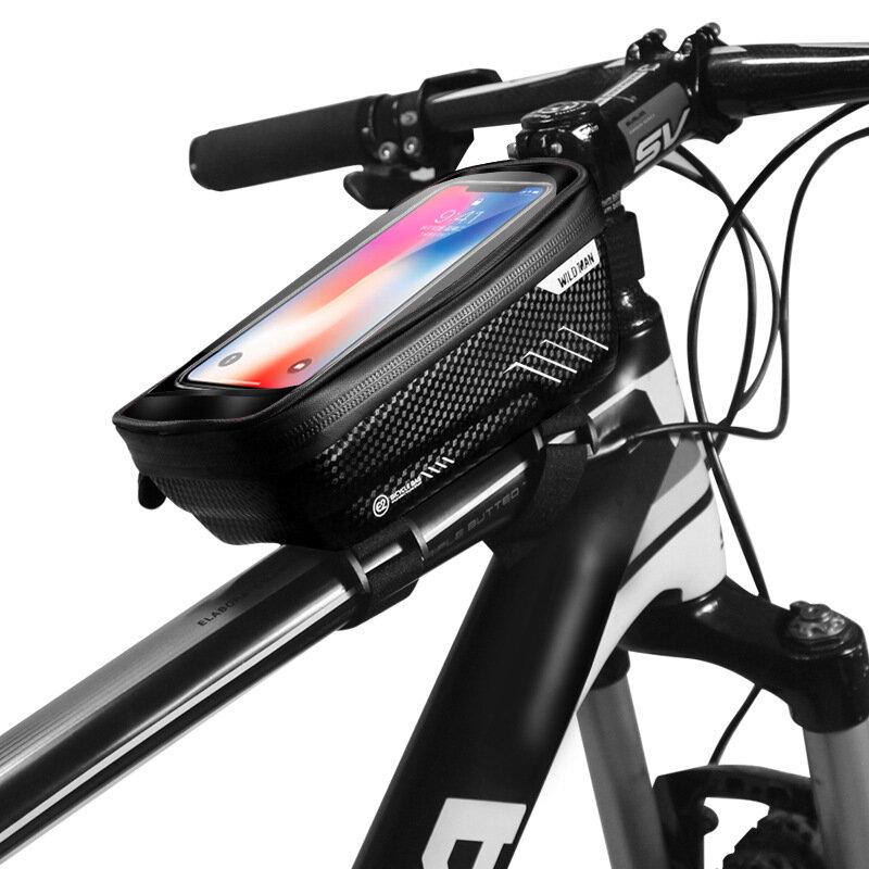 WILD MAN E1 PU + EVA Pantalla táctil para teléfono de bicicleta Bolsa con orificio para auriculares Impermeable Equipo d