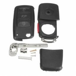 Coche 4 Botones Control remoto Llave Carcasa negra Caso Hoja abatible sin cortar para VW Touareg 2004-2011