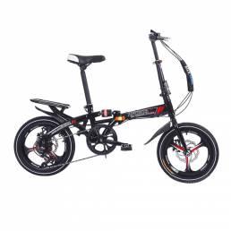 16 Inch Bicicleta plegable de 6 velocidades Aluminio Mini bicicleta plegable ligera Frenos de disco dobles Estudiantes A
