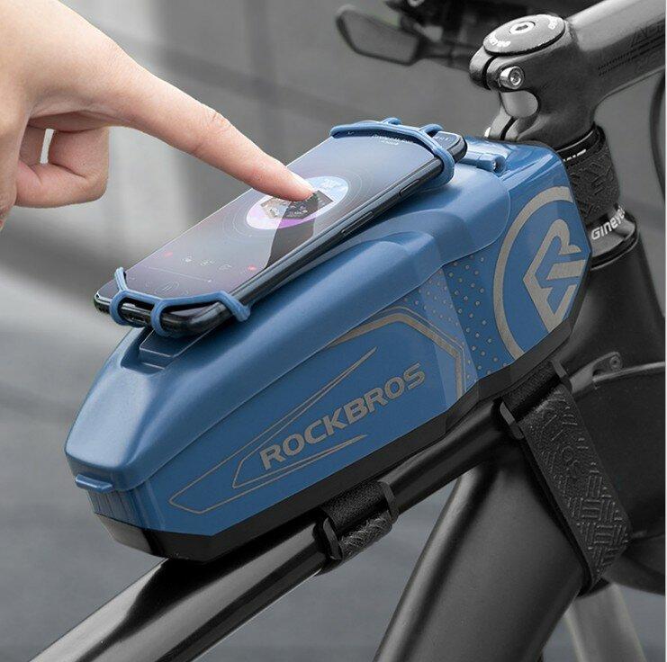 ROCKBROS PC Shell 360 ° Rotación Bicicleta a prueba de choques en el paquete de tubo Gran capacidad se puede ajustar