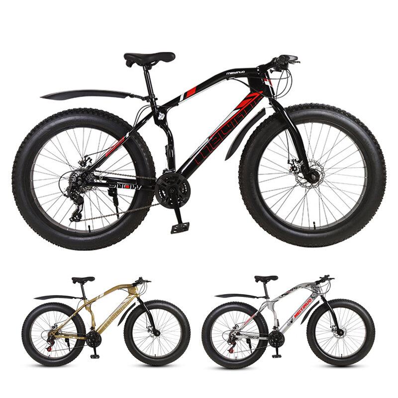 BIKIGHT 26 Inch Bicicleta de montaña de 24 velocidades 4.0 Neumático grueso Bicicleta MTB Freno de disco doble Playa Bic