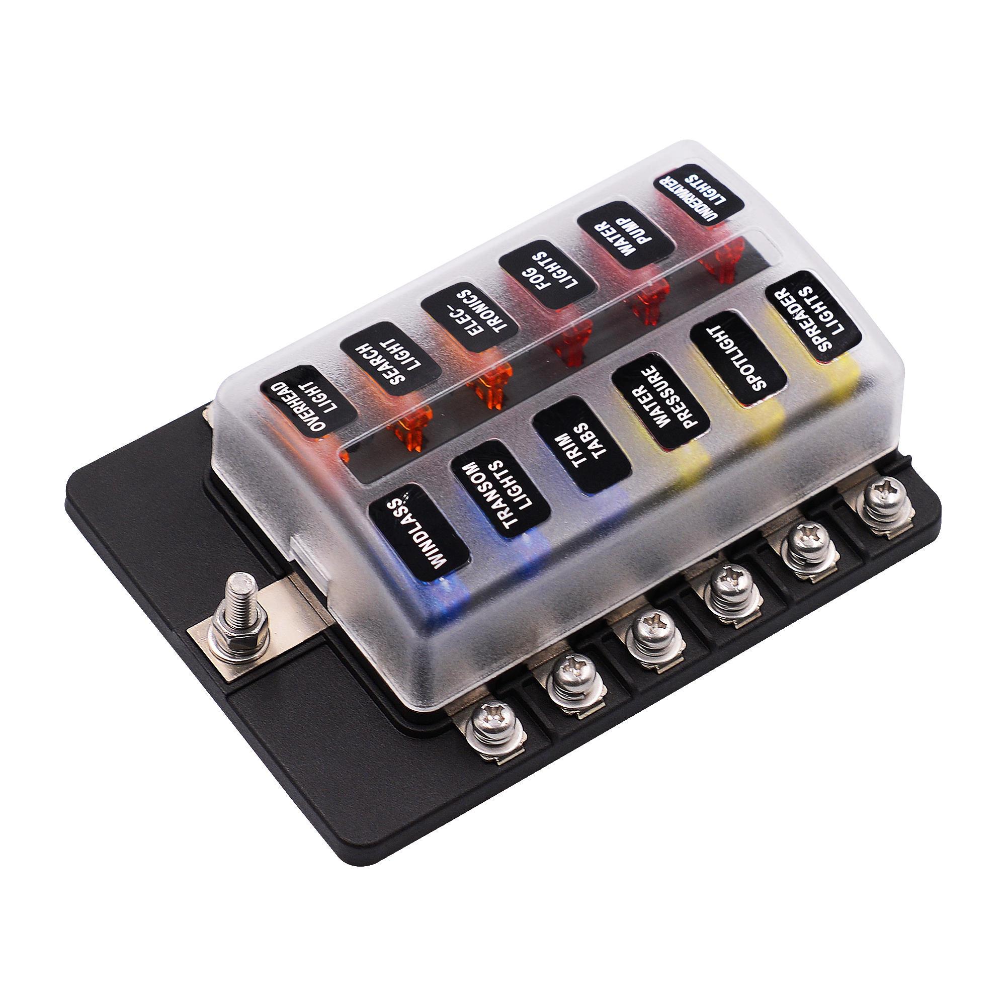 IMars ™ 12 Way Fuse Caja 12V 32V Circuit Juego de porta cuchillas estándar Coche Cocheavan