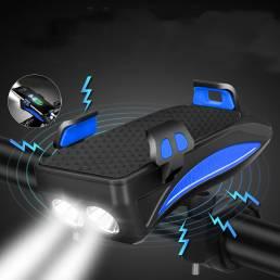 4 en 1 400lm faro de bicicleta USB recargable delantero de bicicleta Lámpara 130dB Horn Power Bank soporte para teléfono