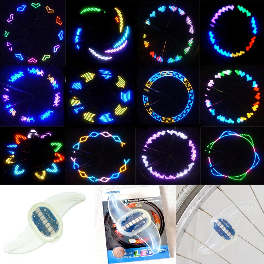 BIKIGHT 30 Colorful Patrones Bicicleta luz LED Bicicleta Ciclismo Radios Alambre Neumático Neumático Rueda LED Luz de ra