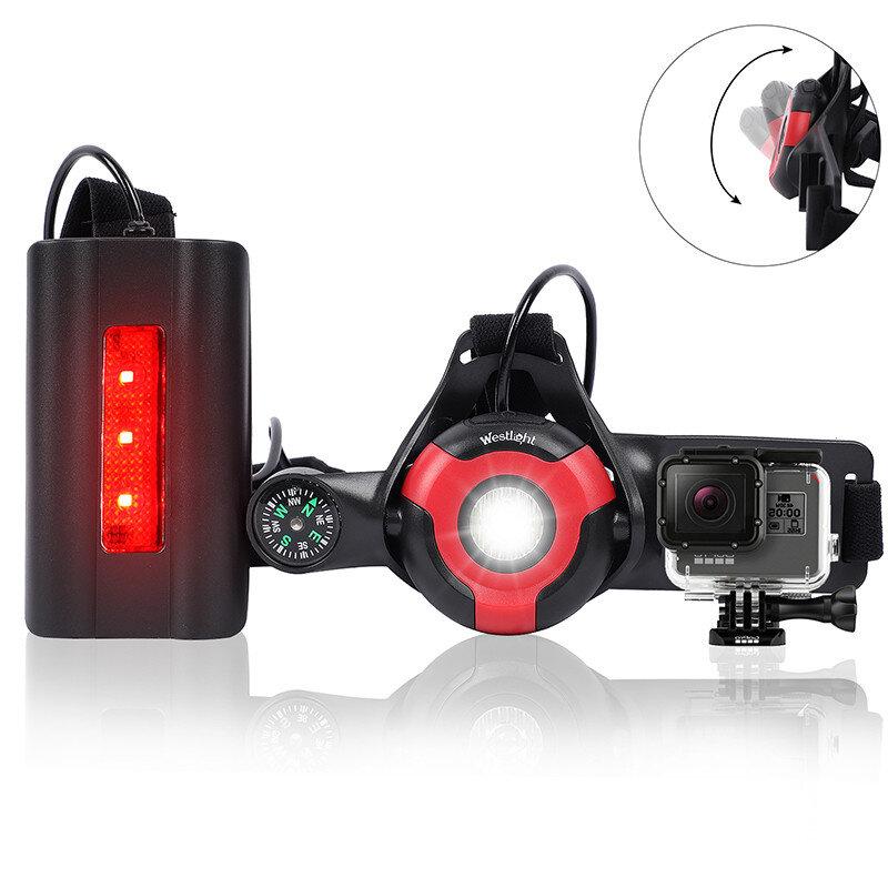 WEST BIKING 500lm Sport Running Light 3 modos USB recargable linterna de advertencia segura pesca Lámpara