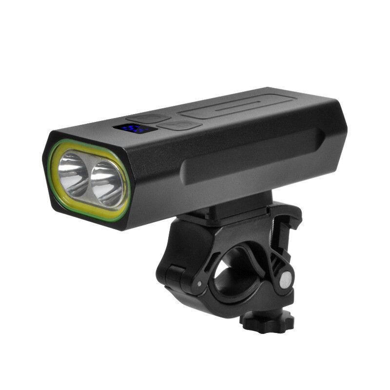 BIKIGHT LR-Y19 2 x T6 5 modos USB recargable IPX6 Impermeable Power Digital Pantalla Faro de luz para bicicleta con 5200