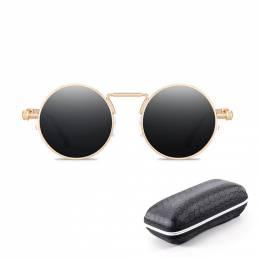 BIKIGHT Nuevas gafas de sol UV400 Espejo antirreflectante Redondo Sol de metal Gafas vendimia Steampunk para Mujer Hombr