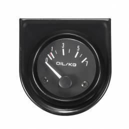 2 Inch 52 mm Universal Coche indicador negro Oil manómetro 0-7kg / cm blanco luz LED