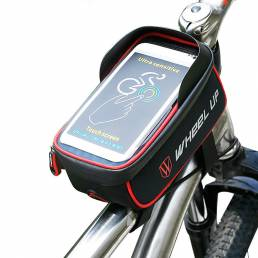 Rueda hacia arriba Bicicleta de pantalla táctil Front Frame Tube Celular Bolsa impermeable Bicicleta Front Frame Case Ho