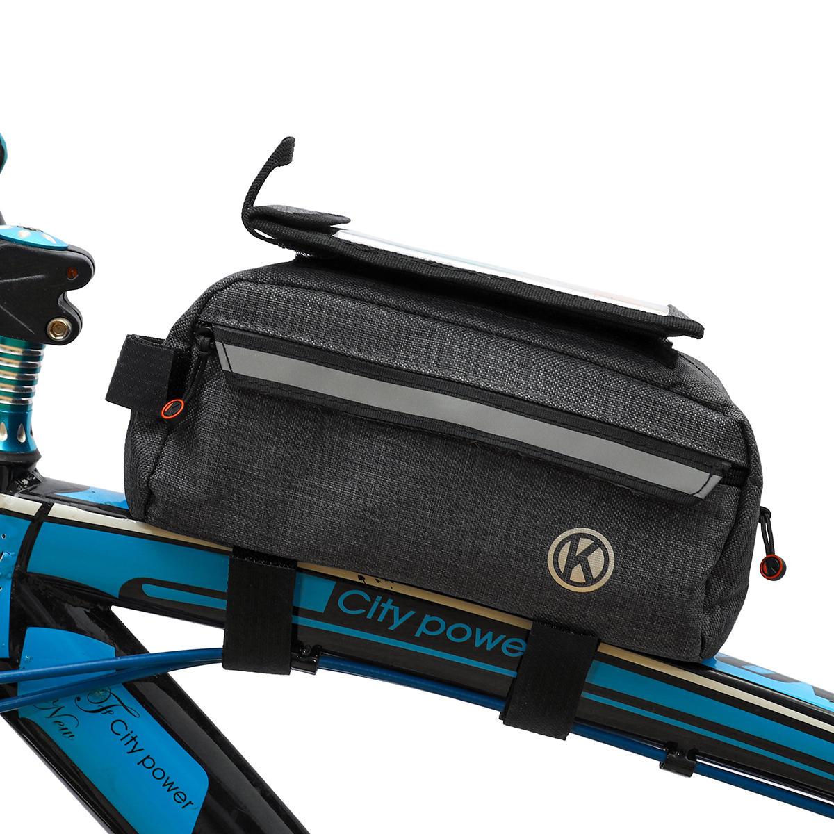 Almacenamiento de la viga delantera de la bicicleta Bolsa Teléfono móvil Bolsa Bicicleta de montaña de gran capacidad Bo