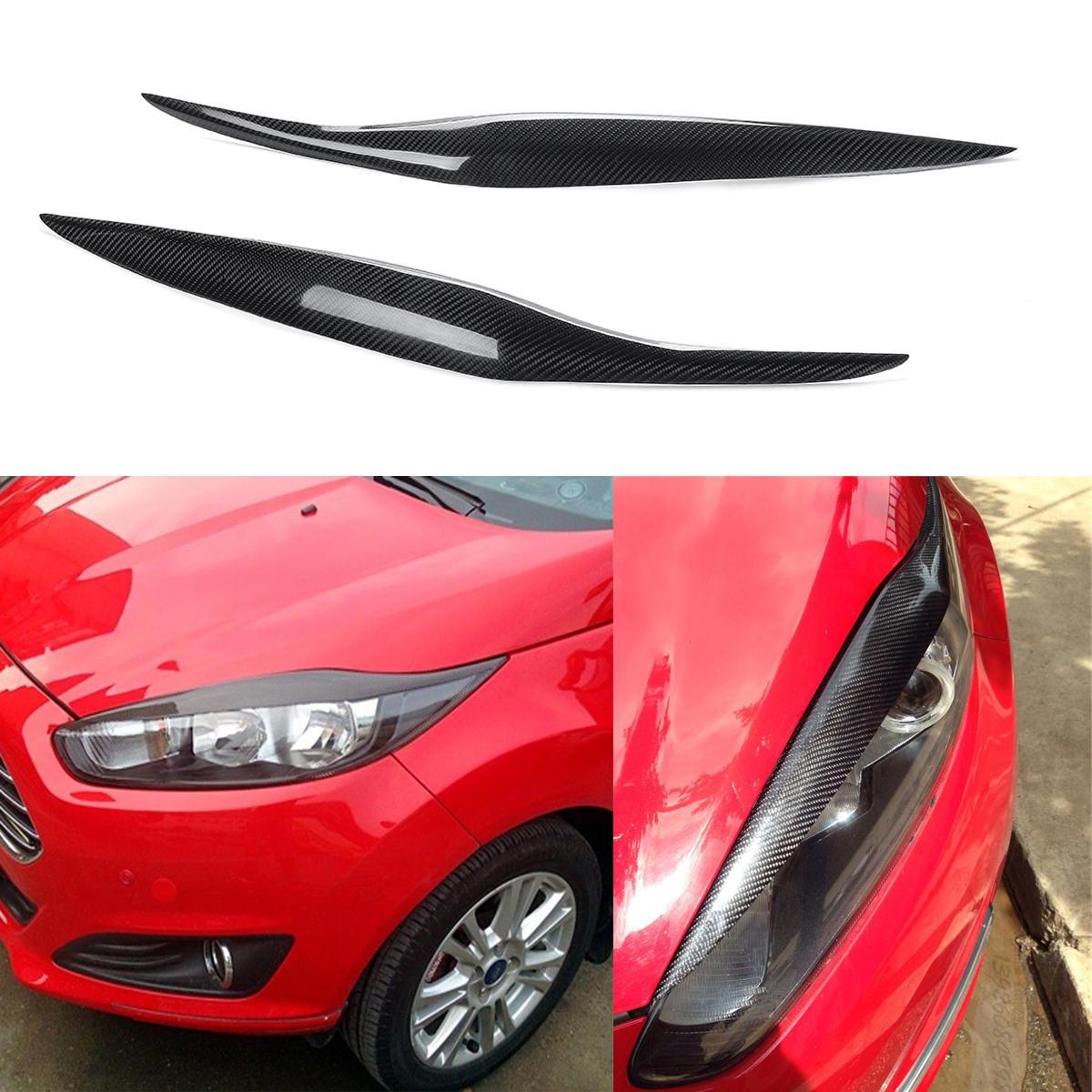 Fibra de carbono del faro del coche ceja párpados para Ford Fiesta MK7.5 2012-2017 MK8 2013-2016
