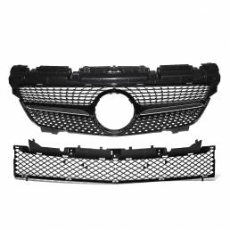 Parrilla delantera brillante de estilo diamante negro para Mercedes-Benz SLK Clase R172 200250350 2012-2016
