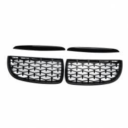 Par de rejillas delanteras de riñón estilo diamante párpados superiores de la capucha negro brillante para BMW Serie 3 E