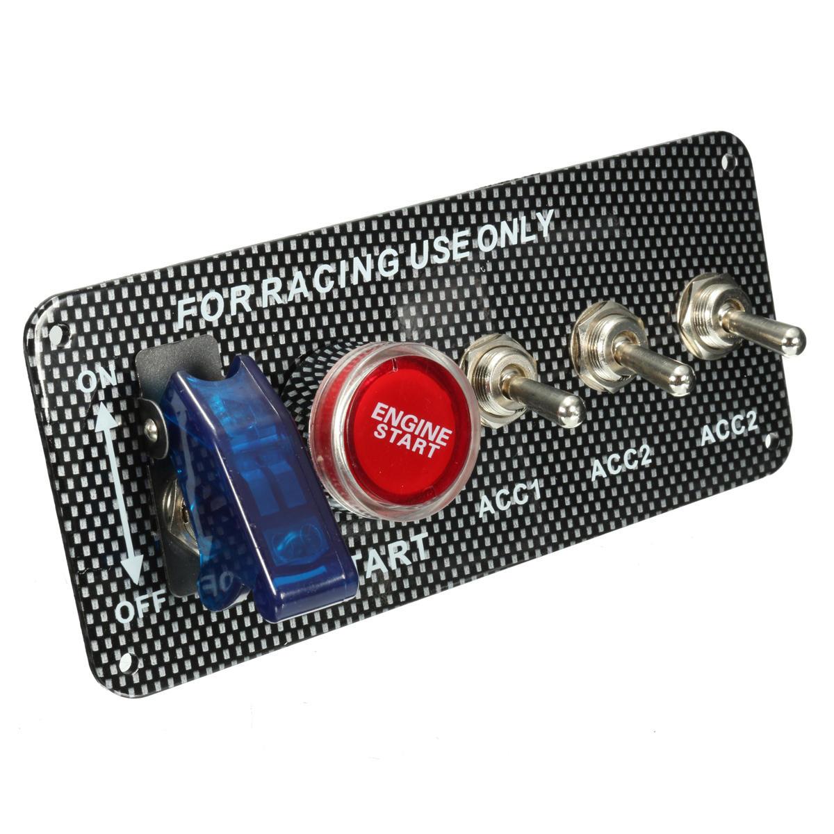 12V 20A LED Panel de interruptor de encendido de palanca Motor Botón de inicio Fibra de carbono Estilo Placa para Racing