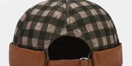 Collrown Unisex Contrast Color Lattice Patrón Casual Personalidad Brimless Cráneo Sombrero Landlord Sombrero Beanie