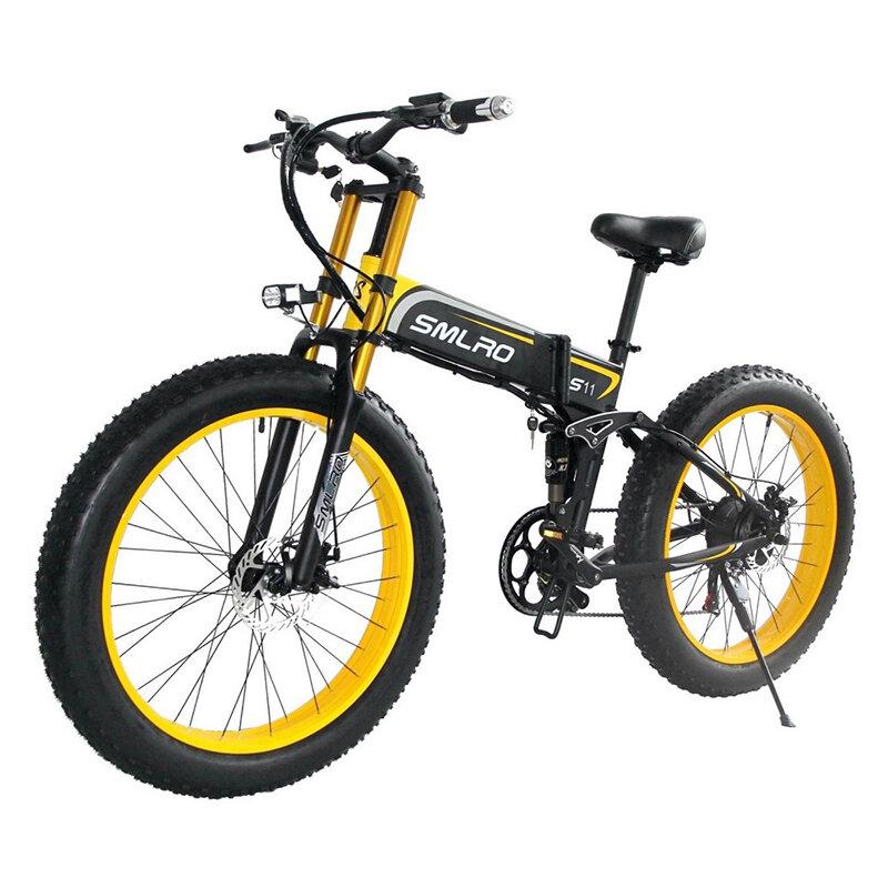 SMLRO S11PLUS 48V 10Ah 500W 26in neumático gordo bicicleta ciclomotor eléctrica plegable 35 km / h bicicleta eléctrica d