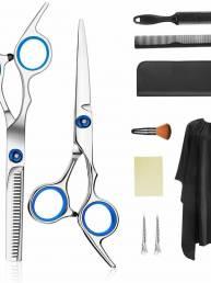 10 PCS Professional Cabello Tijeras de corte 6 Inch Tijeras de adelgazamiento de peluquería Cabello Tijeras de vestir Ac