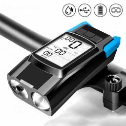 Velocímetro de bicicleta BIKIGHT 3 en 1 inalámbrico USB recargable doble T6 LED Luz de bicicleta Computadora de biciclet