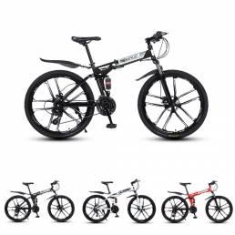 MYNUO 26 Inch Bicicleta de montaña plegable de 21 velocidades Ruedas de 10 hojas Frenos de doble disco Amortiguador Bici