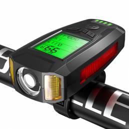 Negro BIKIGHT Luz de bicicleta COB 3 en 1 350LM + Bocina USB Lámpara + Medidor de velocidad LCD Pantalla 5 modos Imperme