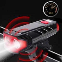 BIKIGHT 5 modos doble T6 LED Solar Luz de bicicleta eléctrica con bocina Luz delantera de bicicleta de montaña de carret