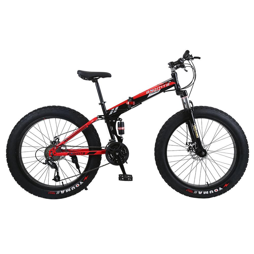 26 pulgadas 21 velocidades neumático gordo plegable bicicleta de montaña rueda de radios bicicleta de montaña bicicleta