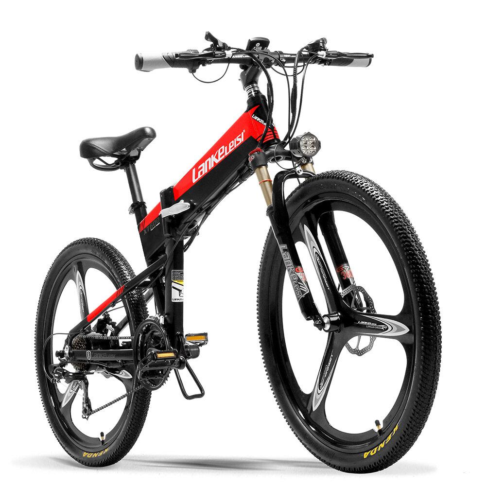 LANKELEISI XT600 10.4Ah 48V 400W 26 pulgadas Bicicleta eléctrica plegable ciclomotor 100Km Kilometraje Carga máxima 120k