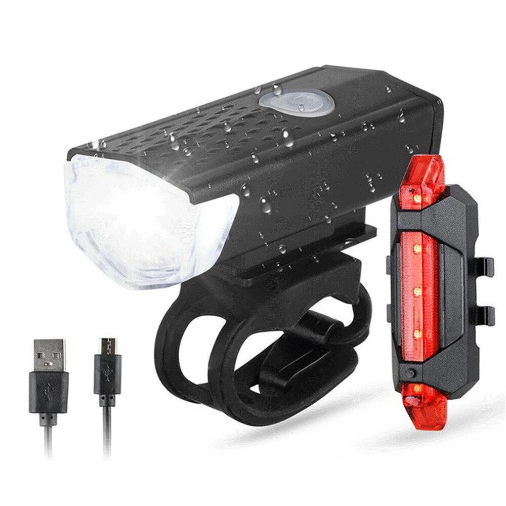 BIKIGHT Bicicleta Delantero + Juego De Luz Trasera USB LED Recargable MTB Delantero De Montaña Lámpara Faro A Prueba De